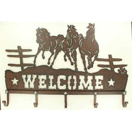 Hook Sign (Western Moments 94052 Metal Running Horse Welcome Sign with Hooks)