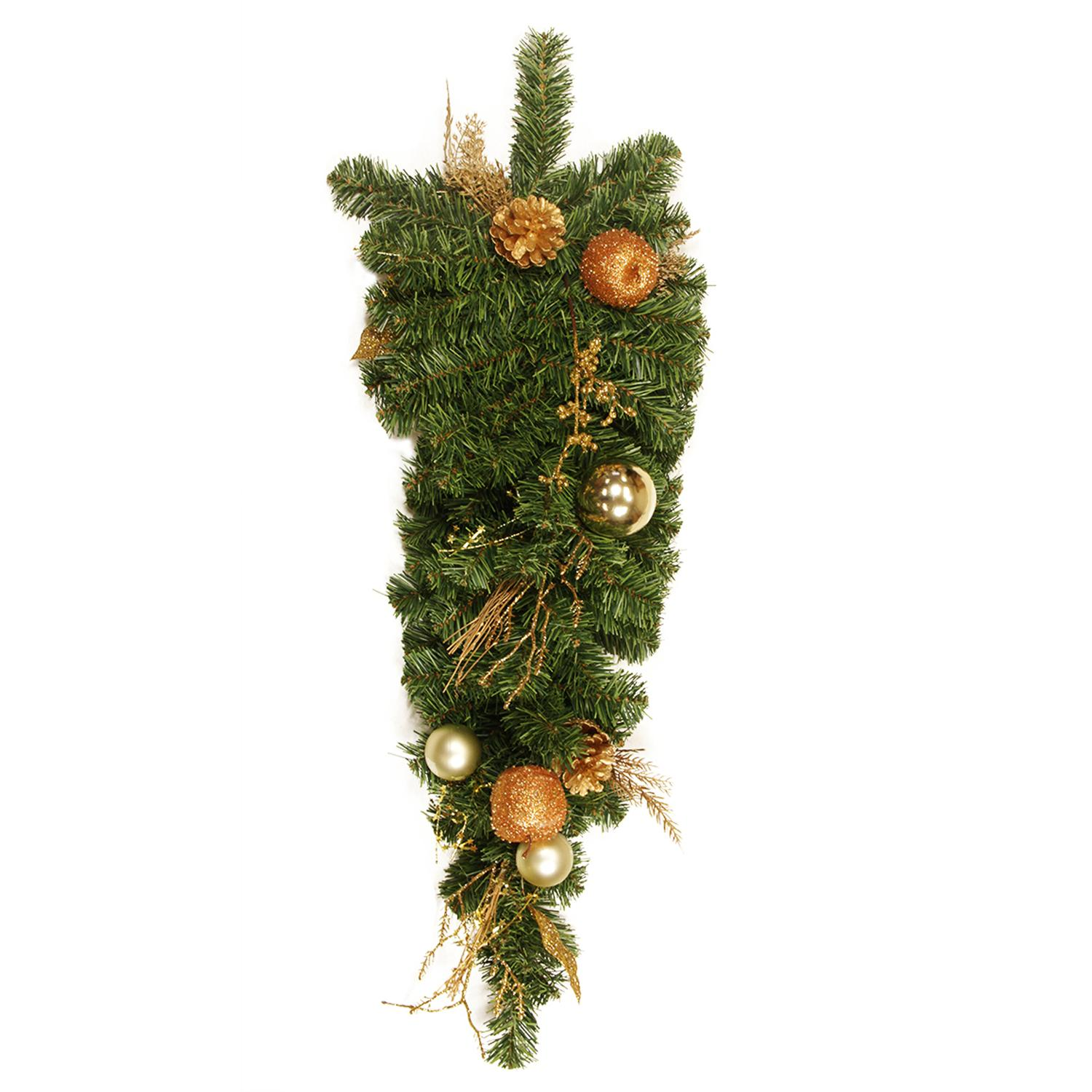 """DAK 30"""" x 12"""" Unlit Pine, Gold Apple, Ball, Berry and Pine Cone Artificial Christmas Teardrop Swag"""