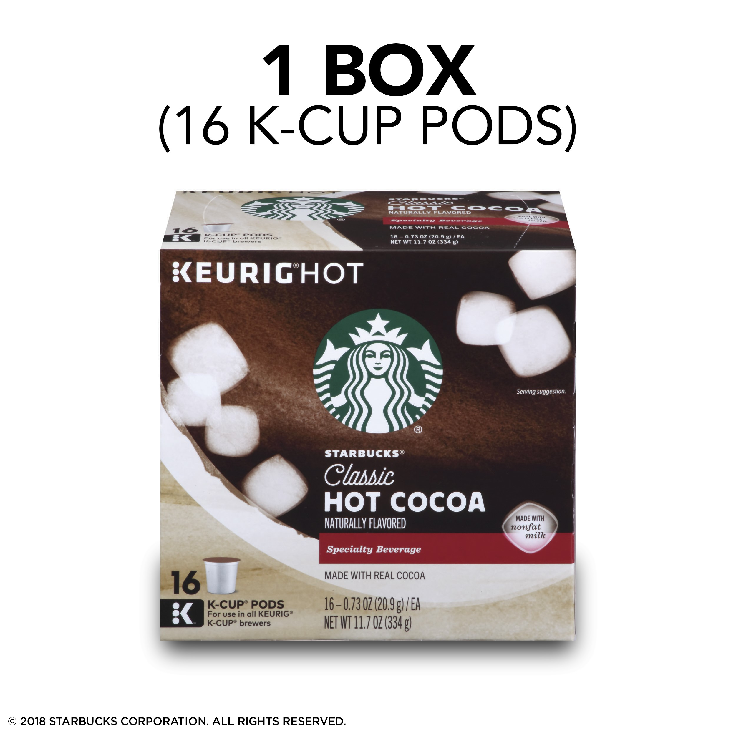 Starbucks Classic Hot Cocoa Single Serve Pods For Keurig Brewers Box Of 16 16 Total K Cup Pods