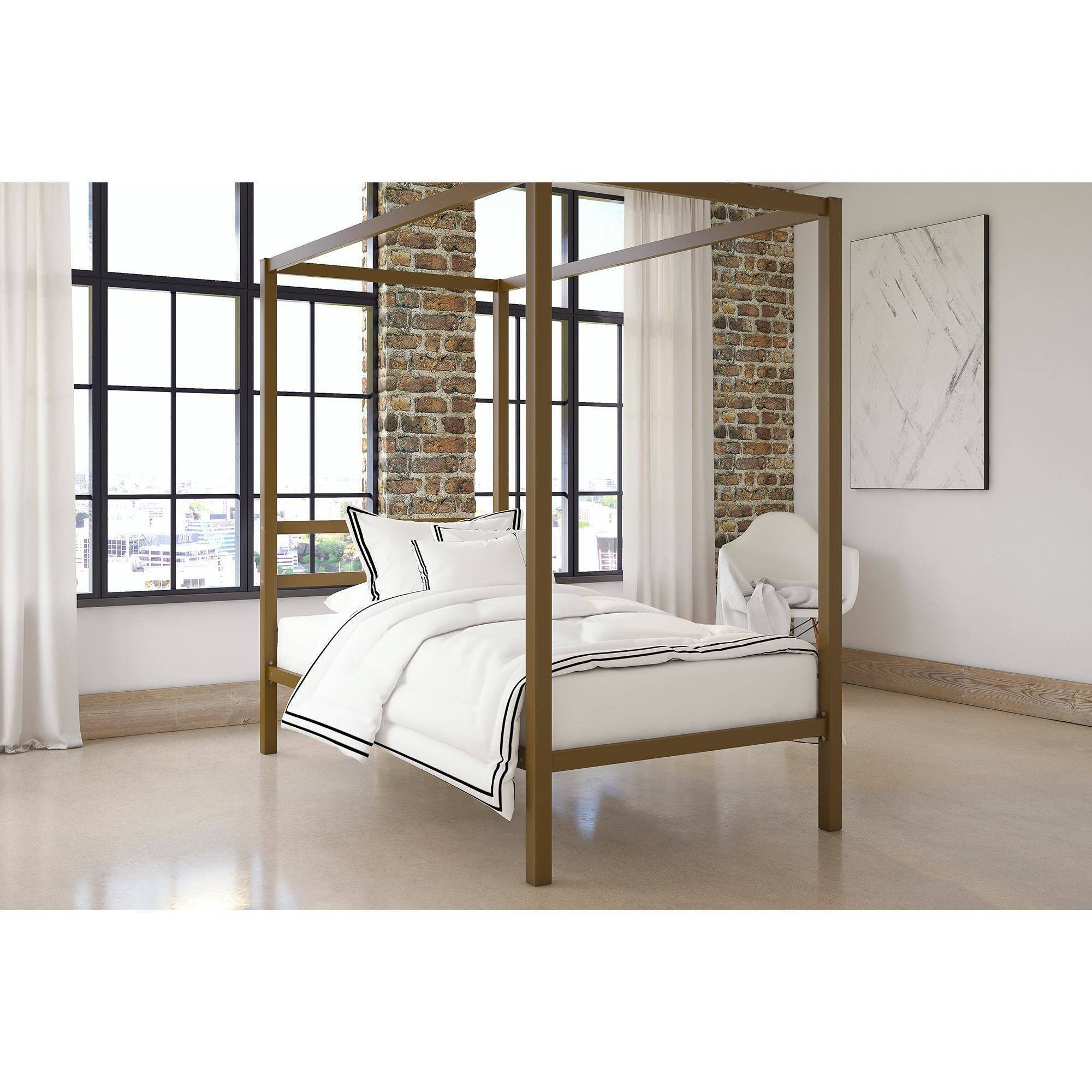 DHP Modern Metal Canopy Bed, Multiple Colors and Sizes