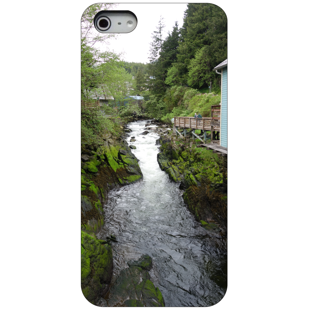 CUSTOM Black Hard Plastic Snap-On Case for Apple iPhone 5 / 5S / SE - Ketchikan Alaska Stream
