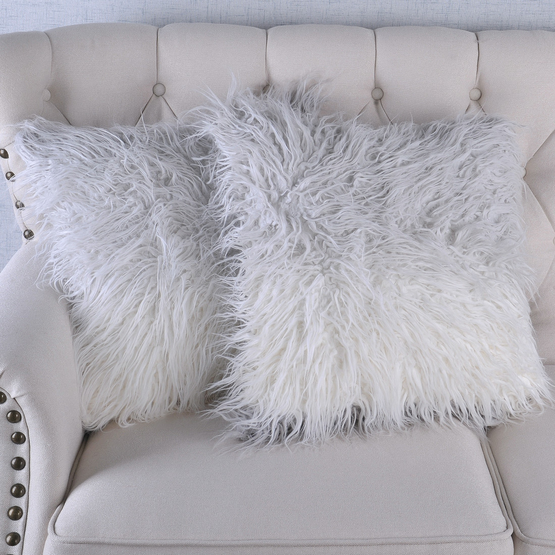 Serenta Mongolian Faux Fur Tip Dyed Pillow Shell Set