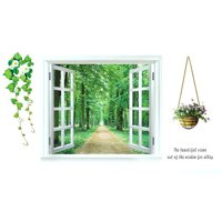 Unique Bargains Home 3D Window Scenery Pattern Art Decal Wall Sticker Mural Decoration