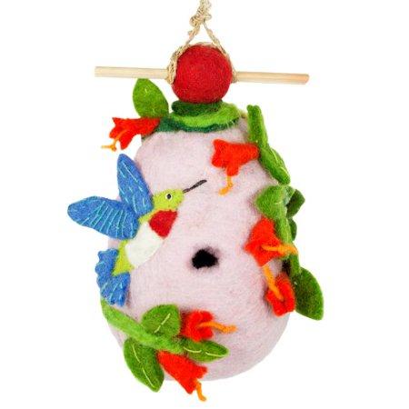 Achla Designs Birdhouse (Birdhouse Sheep's Wool Body Light Water Resistant Hummingbird Design Handmade)