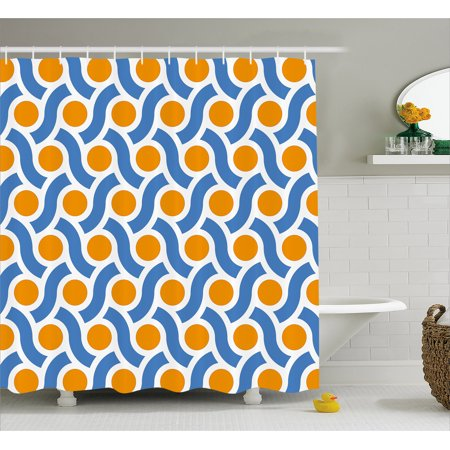 Geometric Shower Curtain Orange Dots Spots With Informal Lines Waves Curvilinear Abstract Design Fabric