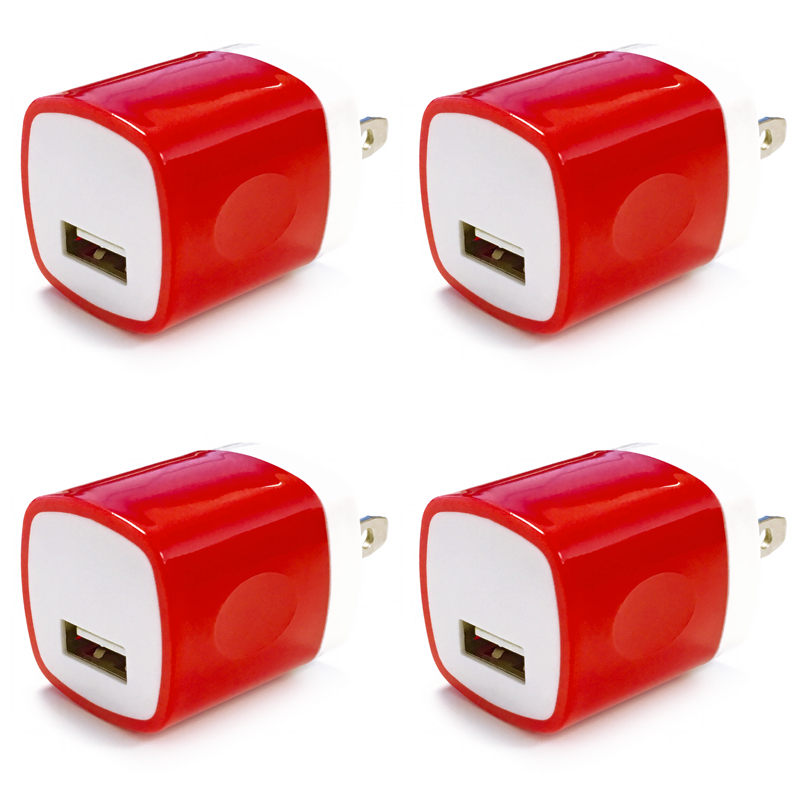 4x USB Wall Charger, Charger Adapter, FREEDOMTECH 1Amp Single Port Quick Charger Plug Cube for iPhone 7/6S/6S Plus/6 Plus/6/5S/5, Samsung Galaxy S7/S6/S5 Edge, LG, HTC, Huawei, Moto, Kindle and More