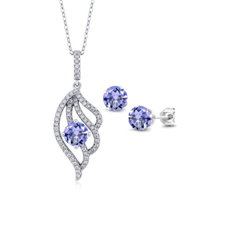 3.42 Ct Round Blue Tanzanite 925 Sterling Silver Pendant Earrings