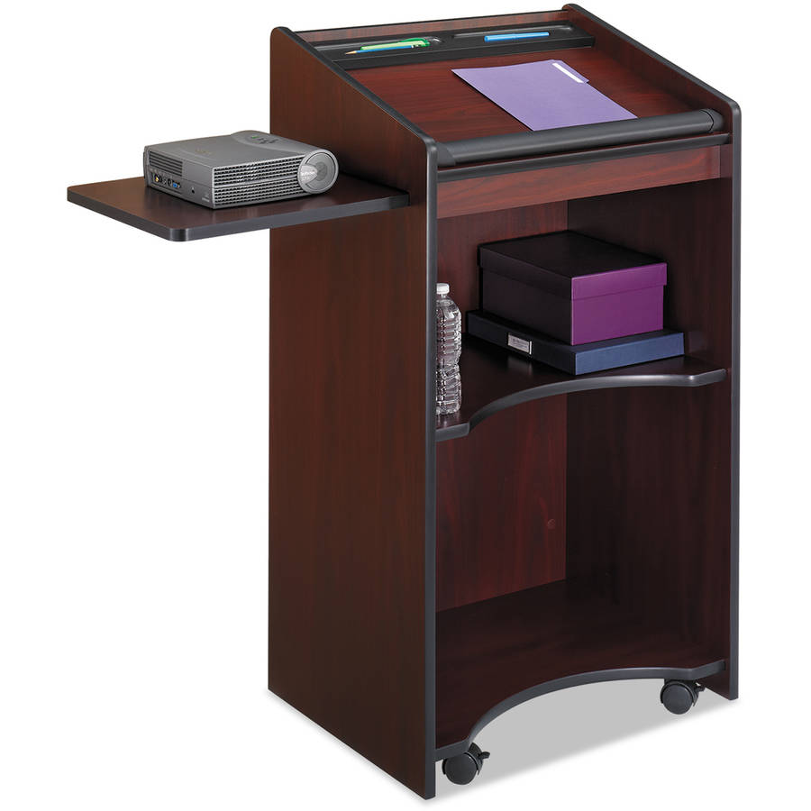 Safco Executive Mobile Lectern, 25-1/4w x 19-3/4d x 46h, Mahogany
