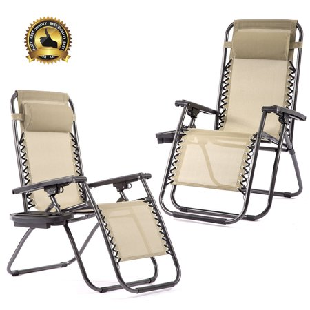 Set of 2 Zero Gravity Chairs Patio Reclining Folding Chairs W/ Pillow Cup Holder