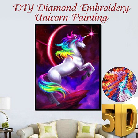 - 5D DIY Oil Canvas Crystal Diamond Jewelry Home Wall Decor Art Painting Picture by Number Kit +Accessories, Full Drill Unicor n Animal Embroidery Cross Stitch Rhinestone Craft