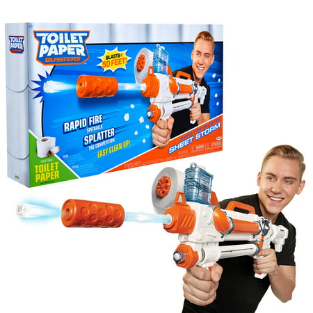 Toilet Paper Blasters Sheet Storm, Toy Blaster Shoots Rapid Fire TP Spitballs up to 50 ft, Uses Real Toilet Paper! Super Fun Gift for Kids, Teens, College Students, Dads, Adults, Outdoors & Indoors