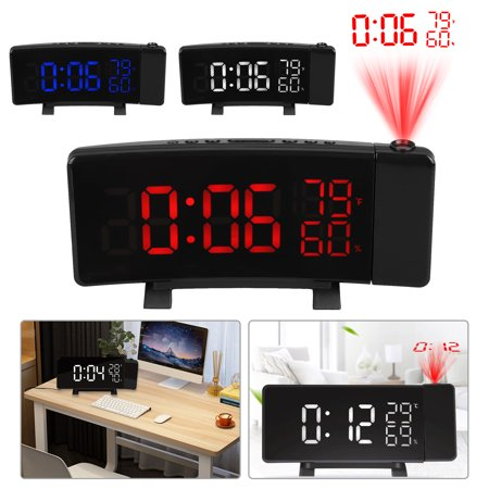 TSV Projector Curved LED Digital Projection Alarm Clock for Bedrooms, Ceiling, Kitchen, Desk, Shelf, Wall, Travel, Home - FM Radio, 3 Dimmer, Dual Alarms with Snooze, USB Charging