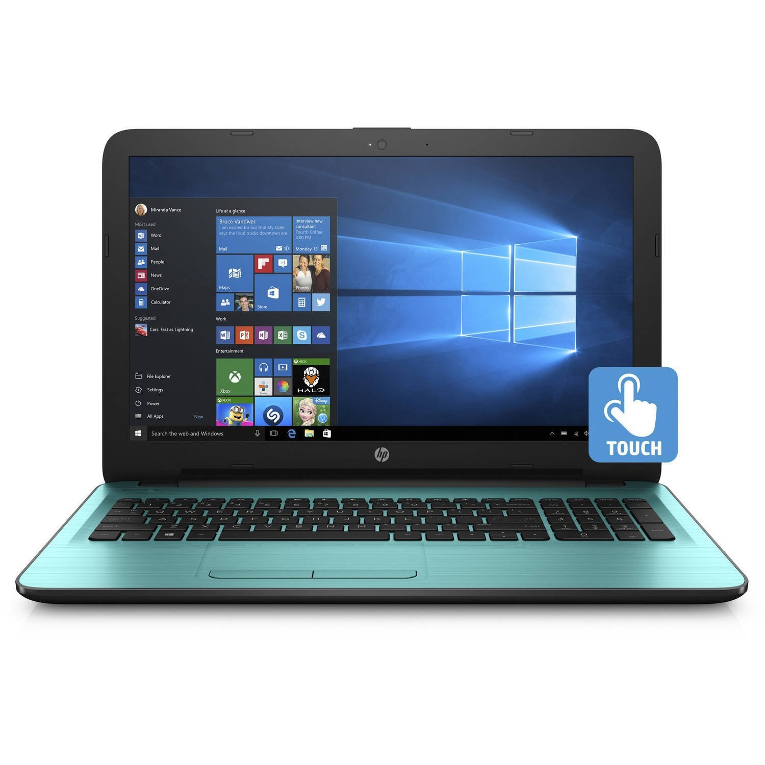 "New Flagship HP Laptop 15.6"" HD High Performance Premium Touchscreen AMD A8-7410 Quad-core 2.20 GHz, 4GB RAM, 1TB HDD, AMD Radeon R5, DVDRW, WLAN, Webcam, USB 3.0, HDMI, Win 10 -Dreamy Teal"