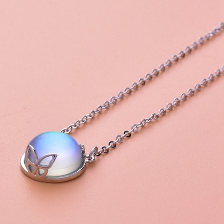 Fancyleo 2019 New 925 Sterling Silver Round Natural Moonstone Necklace High Quality Women Jewelry Girls Pendant With Chain Lovers Gift 925 Natural Moonstone Pendant