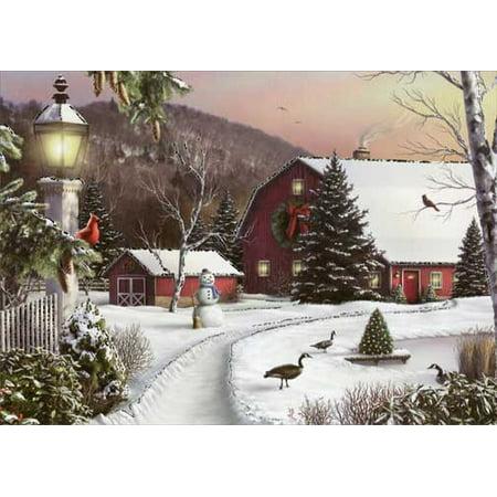 Designer Greetings Barn in Winter Box of 18 Christmas Cards ()