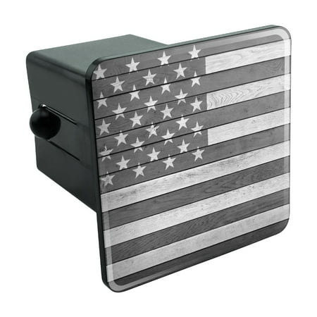 Rustic Subdued American Flag Wood Grain Design Tow Trailer Hitch Cover Plug Insert 2