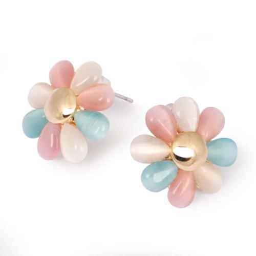 BMC Womens Iridescent Mixed Colored Enamel Resin 8 Petal Flower Fashion Earrings