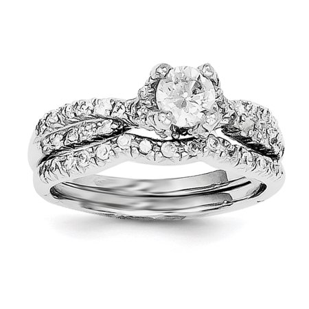 925 Sterling Silver 2 Piece Cubic Zirconia Wedding Set Ring