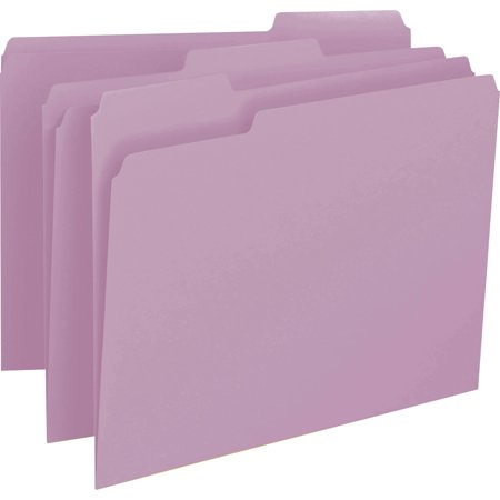 Smead Top Tab Folder (Smead, SMD12443, 1/3 Cut Top Tab Color-coded File Folders, 100 / Box, Lavender)