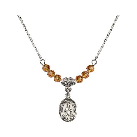 18-Inch Rhodium Plated Necklace with 4mm Yellow November Birth Month Stone Beads and Saint Augustine of Hippo Charm