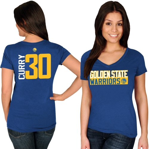 Stephen Curry Golden State Warriors Majestic Women's Name & Number V-Neck T-Shirt - Royal
