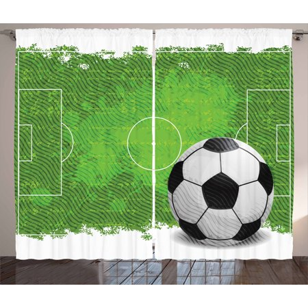 Soccer Curtains 2 Panels Set, Grunge Worn Looking Pitch Pattern Football Six Yard Box Vintage Illustration, Window Drapes for Living Room Bedroom, 108W X 63L Inches, Green Black White, by Ambesonne ()