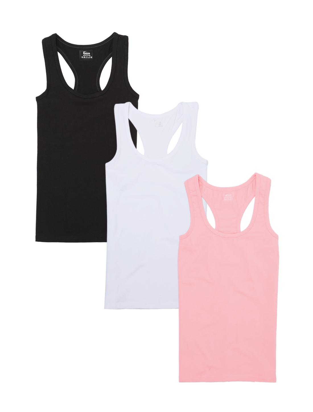 Black Vest Top Women/'s Ladies Stretchy Scoop Neck Basic Top