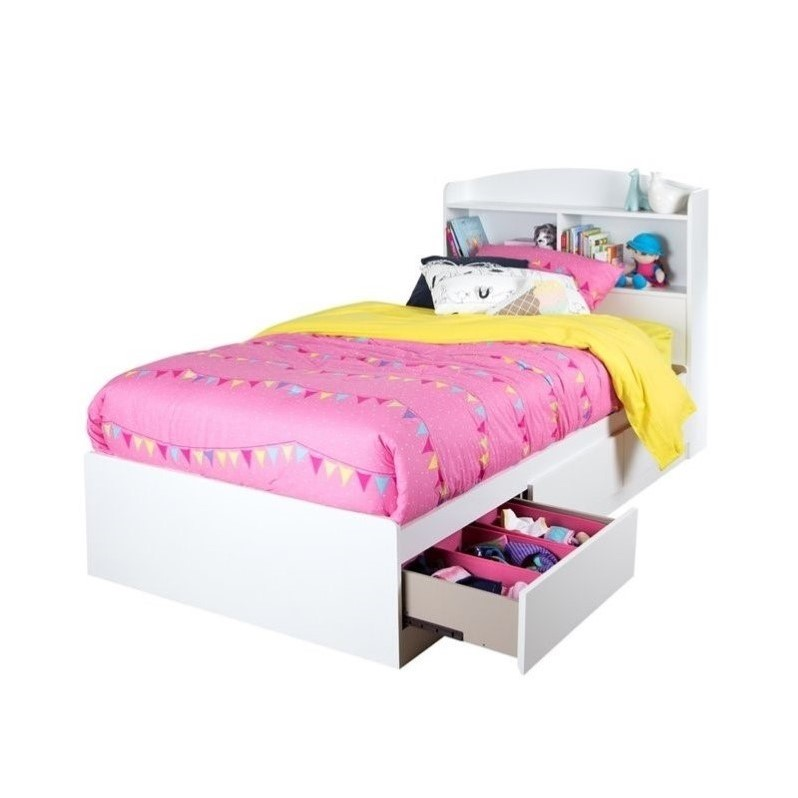 South Shore Logik Wood Twin Bookcase Drawer Bed in White