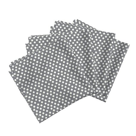 Polka Dots Gray Pewter White Feminine Cotton Dinner Napkins by Roostery Set of (Pewter Dimmer)