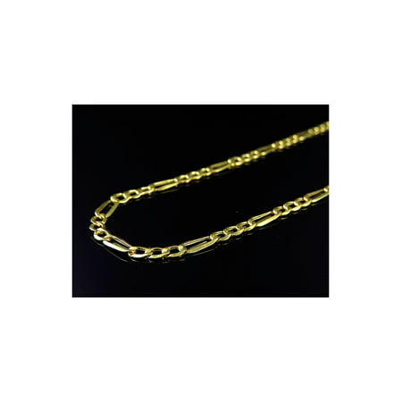10K Yellow Gold Hollow Italian Figaro Style Link Chain (4mm) -26