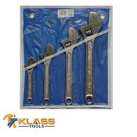 4 Piece Adjustable Wrench Set,
