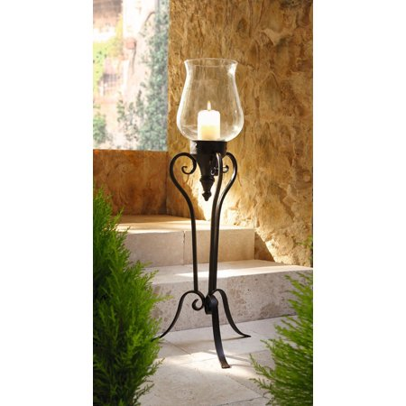 Large Floor Standing Metal and Glass Hurricane Candle Holder ()
