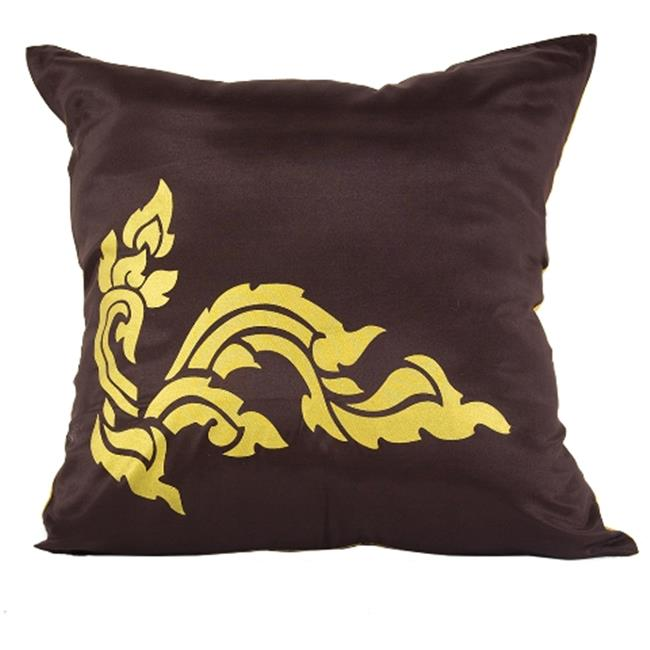 DecorFreak Silk Brown & Yellow Printed Throw Pillow Cover