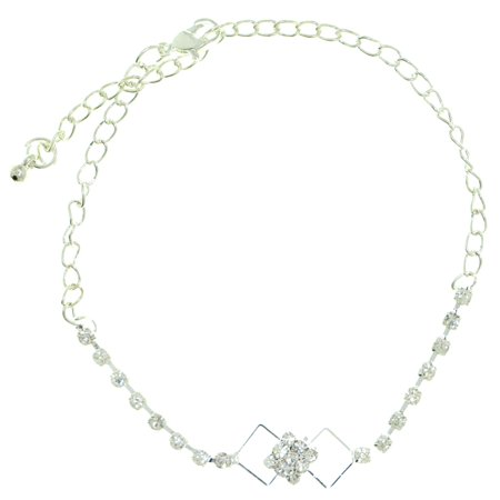Mi Amore Ankle Bracelet With Diamond Shaped Design And Rhinestone Accents Silver-Tone