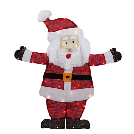 42 lighted jolly santa claus outdoor christmas yard art decoration clear lights - Walmart Christmas Yard Decorations