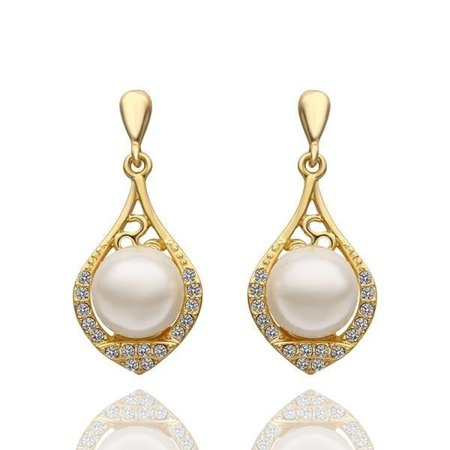 18K Gold Drop Down Earrings with Laser Cut Emblem Made with Swarovksi Elements