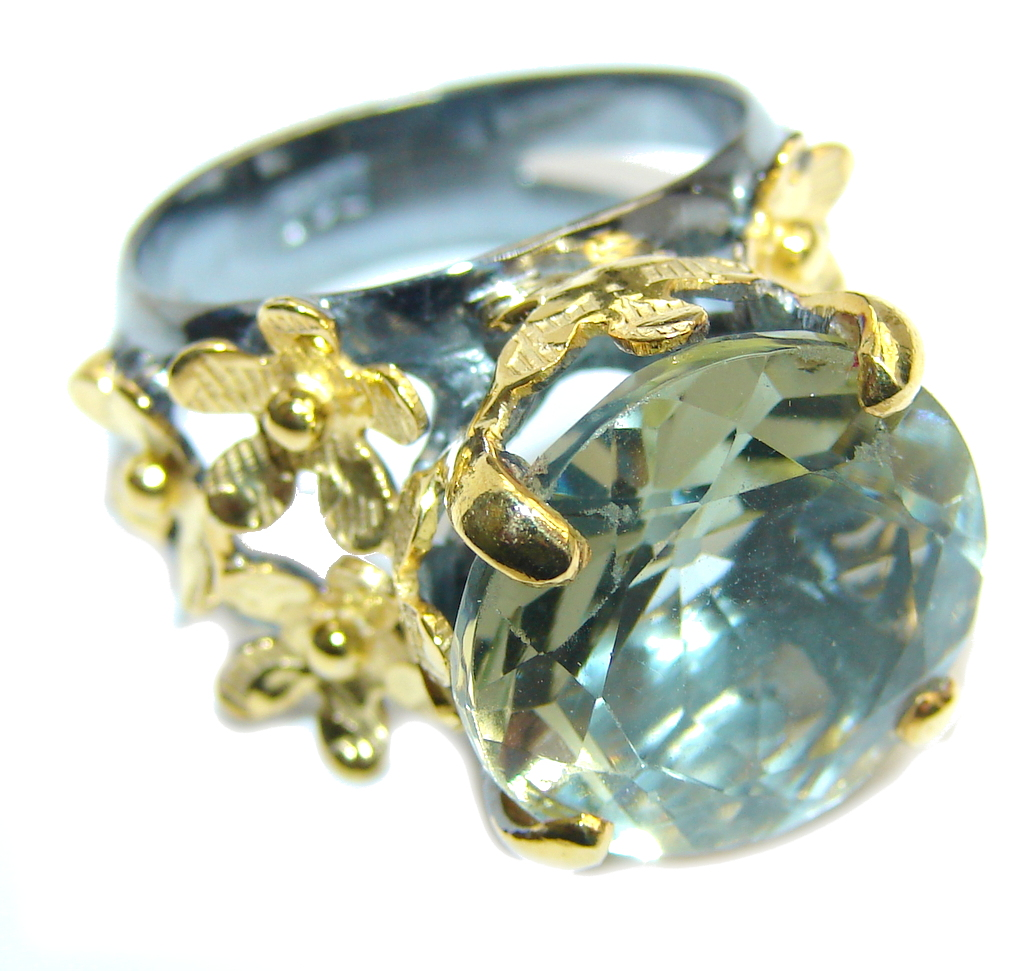 Secret AAA Light Green Amethyst, Gold Plated, Rhodium Plated Sterling Silver Ring s. 8 by SilverRush Style