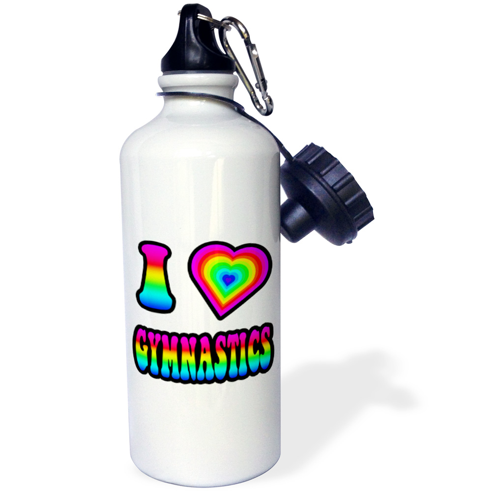 3dRose Groovy Hippie Rainbow I Heart Love Gymnastics, Sports Water Bottle, 21oz