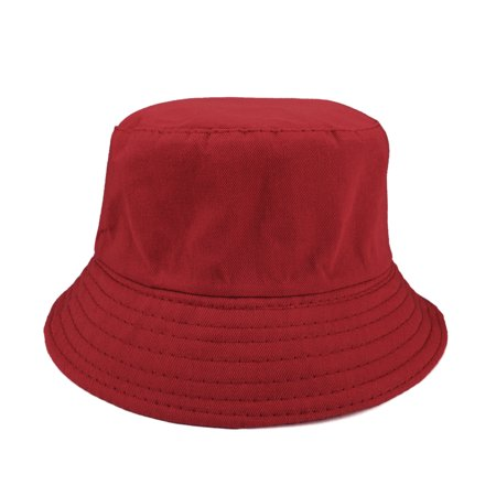 Opromo Kids Cotton Twill Bucket Hat, Children Summer Outdoor Sun Protection Hat-Red-2 PCS
