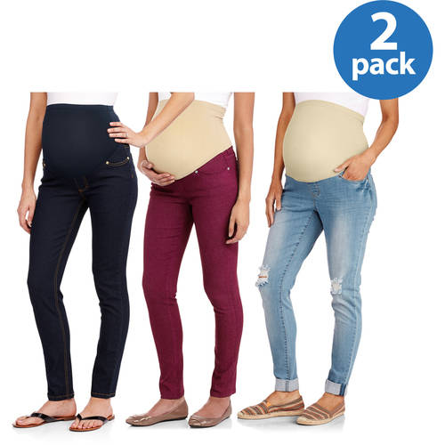 Maternity Mix n Match Full Panel Jeans, 2-Pack Value Bundle