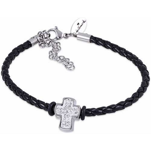 "Connections from Hallmark Crystal Cross Charm Stainless Steel Starter Black Braided Bracelet, 7"" with 1.5"" Extender"
