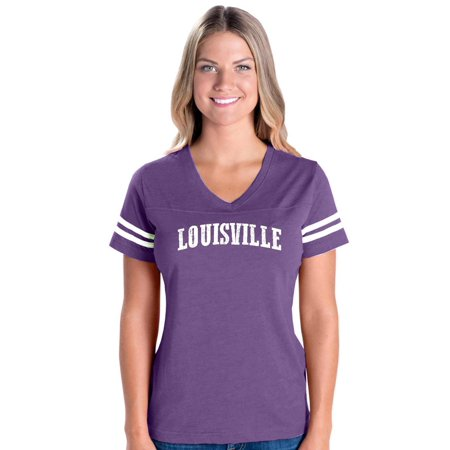 Louisville Kentucky State Flag Womens V-Neck Fine Jersey Tee