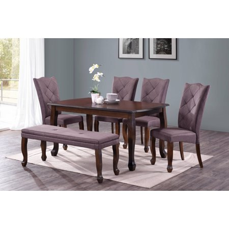 Harper&Bright Designs 6-Piece Rectangle Dining Set, 1 bench, 1 table, 4 chairs (4 Branches Of Government)