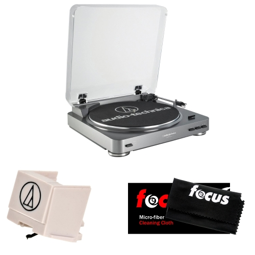 Audio Technica AT-LP60 Fully Automatic Belt Driven Turntable w/ Replacement Stylus and Micro-fiber Cleaning Cloth