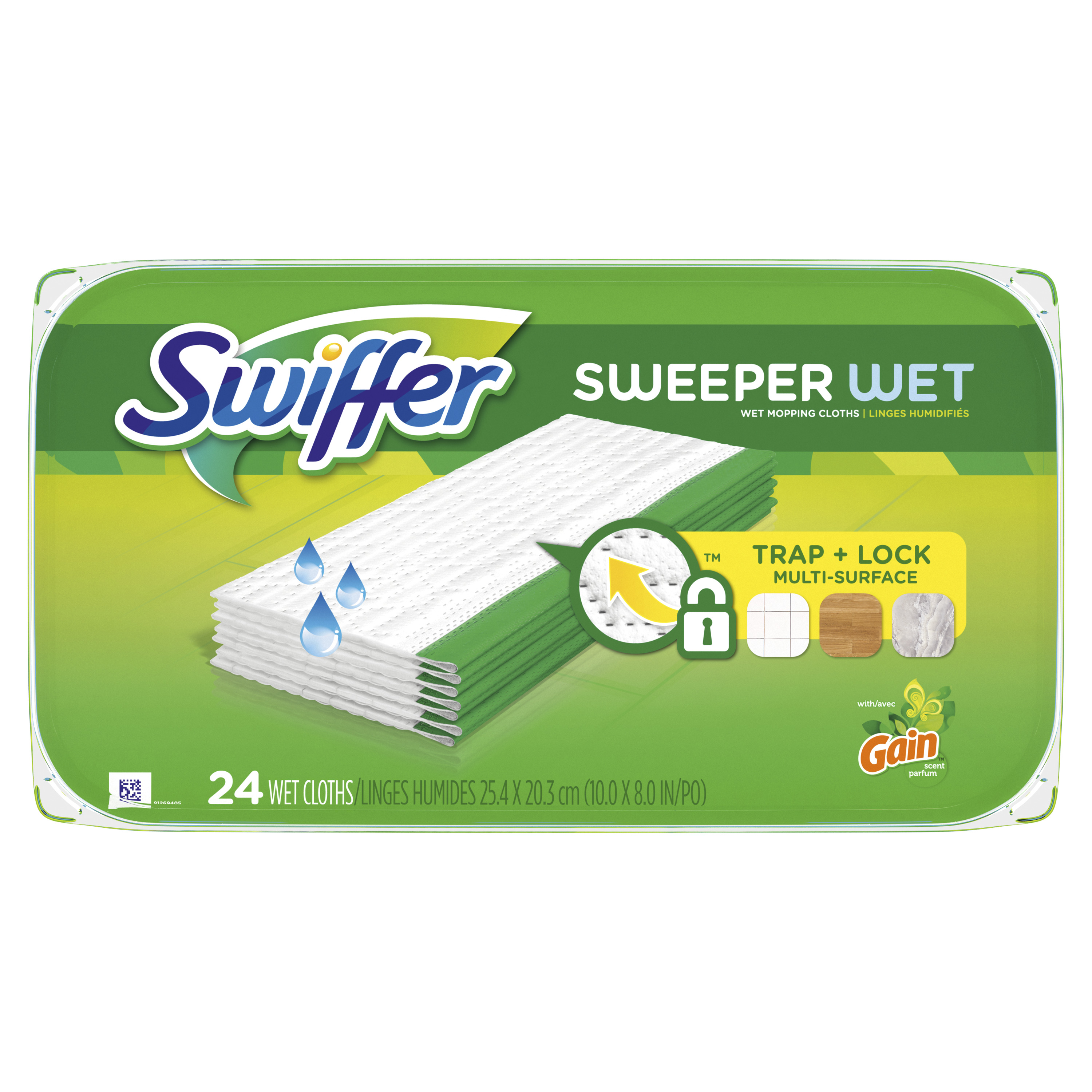 Swiffer Sweeper Wet Mopping Cloths, Multi Surface Refills, with Gain Scent, 24 Count