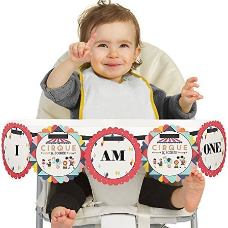 Carnival Circus - Cirque du Soiree 1st Birthday - I Am One - First Birthday High Chair Banner - Carnival Birthday