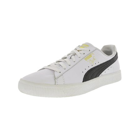 Puma Men's Clyde White / Black Gold Ankle-High Leather Fashion Sneaker - 8M
