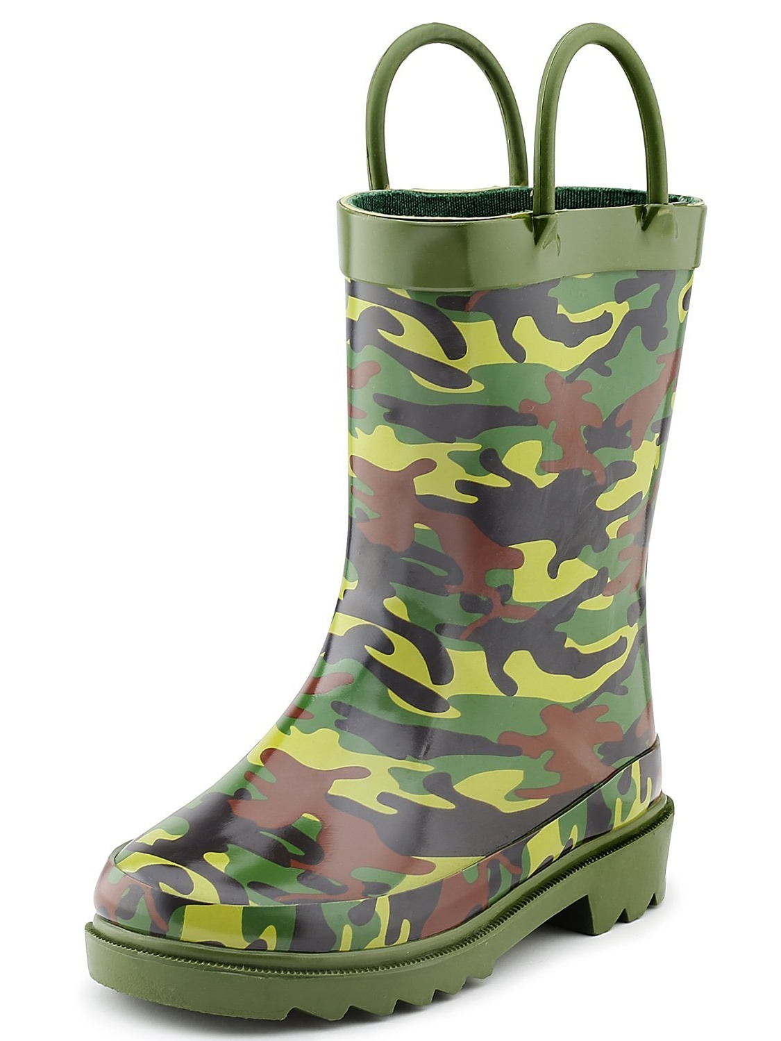 Puddle Play Children's Boys' Camouflage Printed Waterproof Easy-On Rubber Rain Boots (Toddler/Little Kids)
