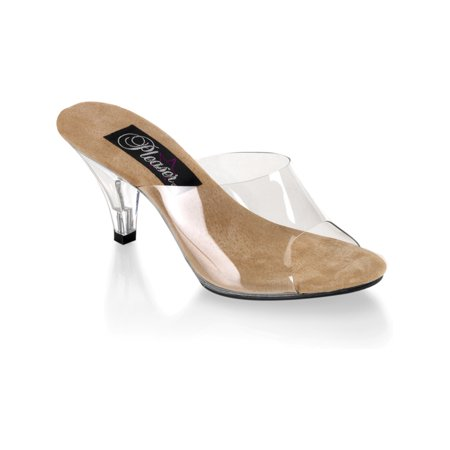 Womens Sexy Shoes 3 Inch Kitten Heel Clear Tan Single Sole ()
