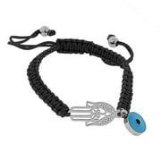 EDFORCE Stainless Steel Blue Silver-Tone Hamsa Evil Eye Macrame Beaded Adjustable Bracelet